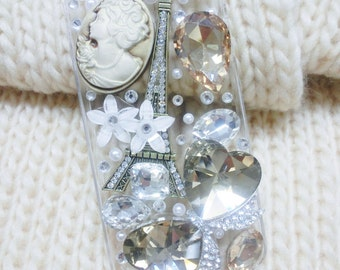 Hand made clear Iphone 5 case with Eiffel Tower & Crystal Bow