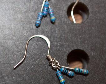 Small Cluster Blue Resistor Earrings