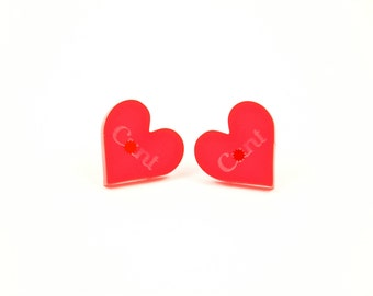 C%nt Heart Button Post Stud Earring