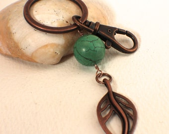 Turquoise and Copper Leaf Key Ring