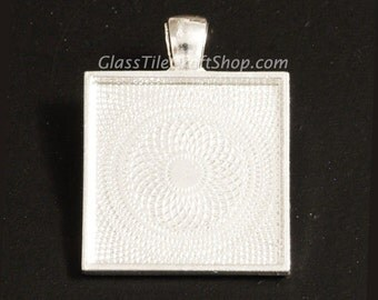50 Square Bezel Tray Blank - 25mm (1 inch) Sterling Silver Plated. (25MSQTSSP)