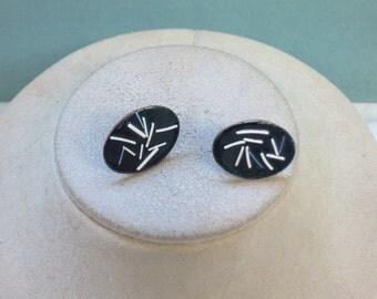 Vintage Copper & Enameled Earrings