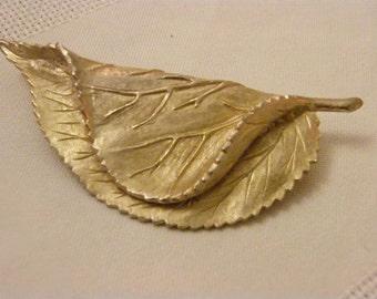 Sphinx Folded Leaf vintage brooch