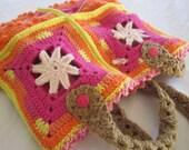 Crochet Starfish Tote, Vivacious Pink, Orange Yellow, Cotton