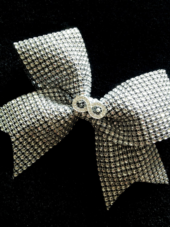 Silver Infinity Rhinestone Bling Cheer Bow for Cheerleaders