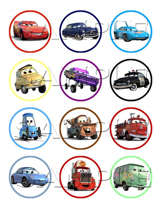Edible Cake Decorations Cars : Cars Edible Cupcake Toppers