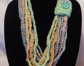 Crochet Chain Scarf Necklace Varigated Teal, Orange, and Green with Button Closure