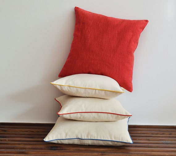 Organic Shine Red Linen Pillow Cover 20x20 Decorative by pillowme