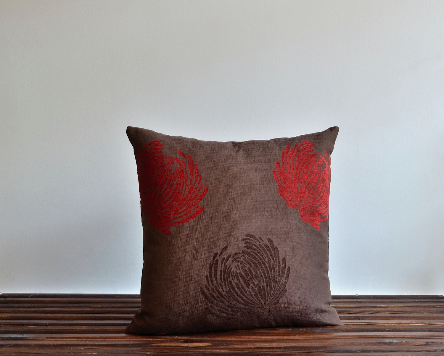 red and brown floral pillow cover 20x20 pillows decorative. Black Bedroom Furniture Sets. Home Design Ideas