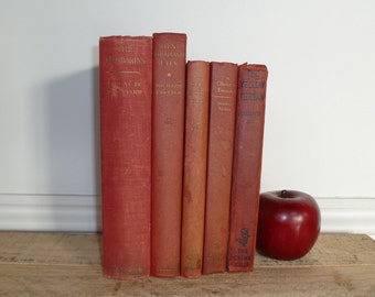 VINTAGE RED BOOKS Instant library, vintage book bundle, vintage book collection