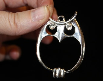 large owl pendant, silver