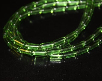 32 green transparent glass tube beads, 10x4mm
