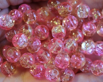 100 approx. pink and yellow 8 mm crackle glass beads, hole 1 mm