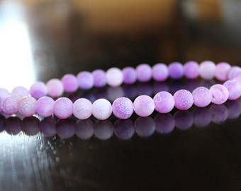 10 purple dragon vein natural agate beads, 8mm hole 1mm