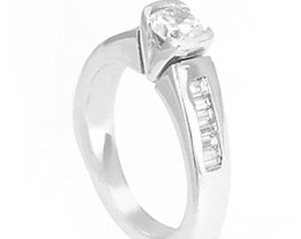 Baguette Diamonds, Channel Set, 14K White Gold,CZ Engagement Ring, Bridal Ring