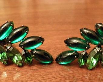 Vintage Emerald-like Clip Earrings