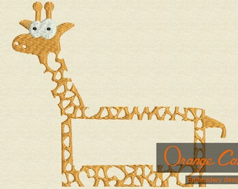 Embroidery Giraffe frame for names Instant Download