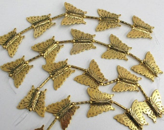 5 Brass Butterfly Beads - Item 52386