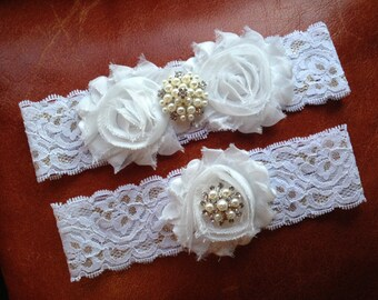 Wedding Garter, Bridal Garter Set - Shabby Chiffon Rosette White, Gold Lace Garter, Pearl Garter, Toss Garter, Garter Set Wedding