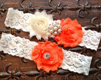 Orange Wedding Garter, Wedding Garter Set, Ivory Lace Wedding Garter, Ivory Orange Wedding Garter, Orange Bridal Garter, Ivory Pearl Garter