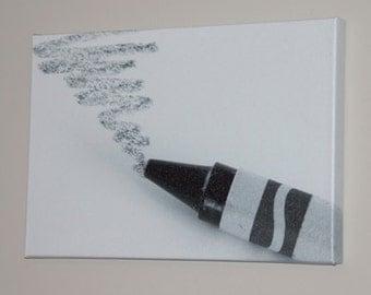 "Mounted Canvas Print ""Black Crayon on White"" (18"" x 12"" x 1"")"