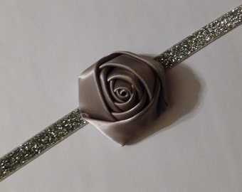 Baby Girl Silver Gray Satin Rolled Rosette Headband on Silver Glitter Elastic