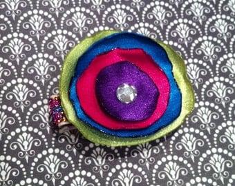 Hand Singed Satin Flower Hair Clip-Rhinestone Center-Rainbow Glitter Hair Clip-lined alligator clip-no slip