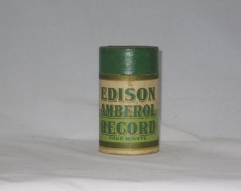 Edison Amberol Record Canister, Four Minute, Green and Sepia