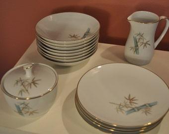 Noritake Oriental Pattern Porcelain Dessert Set - 14 Pieces