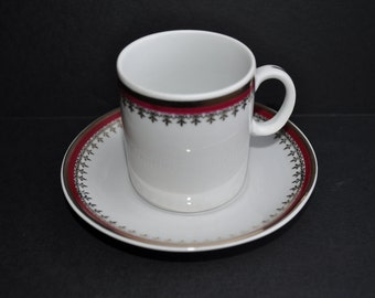 Luxurious Gilded and Burgundy Porcelain Demitasse and Saucer from Poland