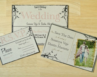 100 Save The Date's, 100 Wedding Invitation's, 100 R.S.v.P's