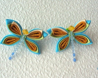 "Ponytails from flowers kanzashi "" Dragonfly"" (a set from 2 pieces)"