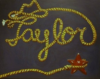 PERSONALIZED cowboy or cowgirl rope painting on canvas