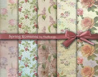 "Shabby chic digital paper : ""SPRING ROMANCE"" floral digital paper, decoupage paper, vintage floral paper, digital rose paper, rustic paper"