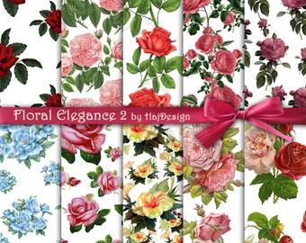 FLORAL ELEGANCE 2 - Instant Download, Digital Paper, Scrapbook Paper, Floral Paper, Digital Collage Sheet, Roses, Rose Paper, Printable