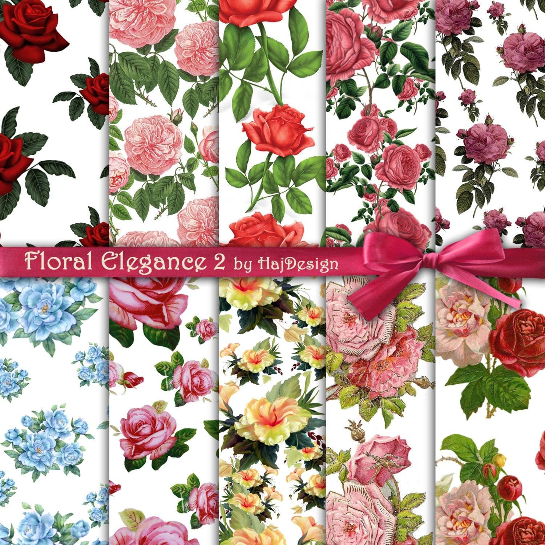 Scrapbook paper collage - Floral Elegance 2 Instant Download Digital Paper Scrapbook Paper Floral Paper Digital Collage Sheet Roses Rose Paper Printable