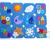Juego de memoria hecho a mano en fieltro - juguete didáctico, piezas coloridas, juego para bebé