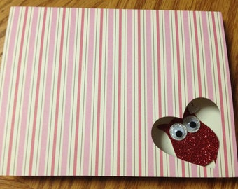 """Stampin Up Homemade Greeting Card Happy Valentines Day """"OWL"""""""