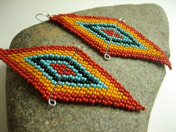 Beaded Native American Earrings, Brick Stitch