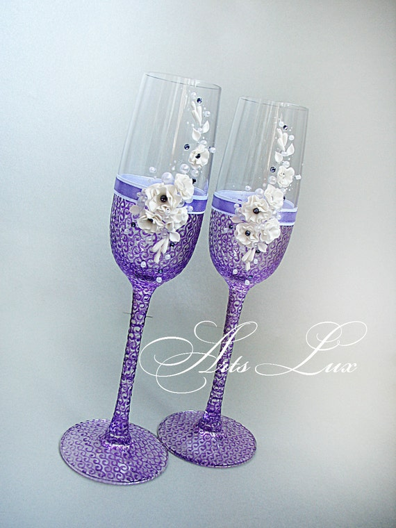 Very Tender And Charming Wedding Champagne Glasses In By