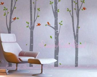 Vinyl Wall Decal Nursery Wall Sticker Tree decal Graphic sticker-Birch Trees-Nature wall art-DK083