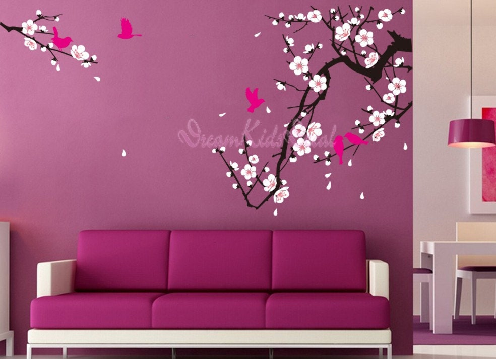 Cherry blossom wall decal birds decals flower vinyl wall for Cherry blossom mural works