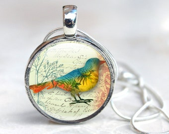 Bird Pendant - Bird Glass Pendant Necklace - Silver Bird Necklace (bird 8)