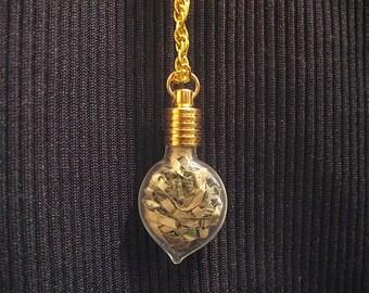 Money pendant, shredded money, glass bottle pendant with shredded money, one of a kind