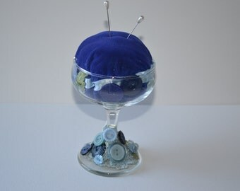 glass pedestal pincushion
