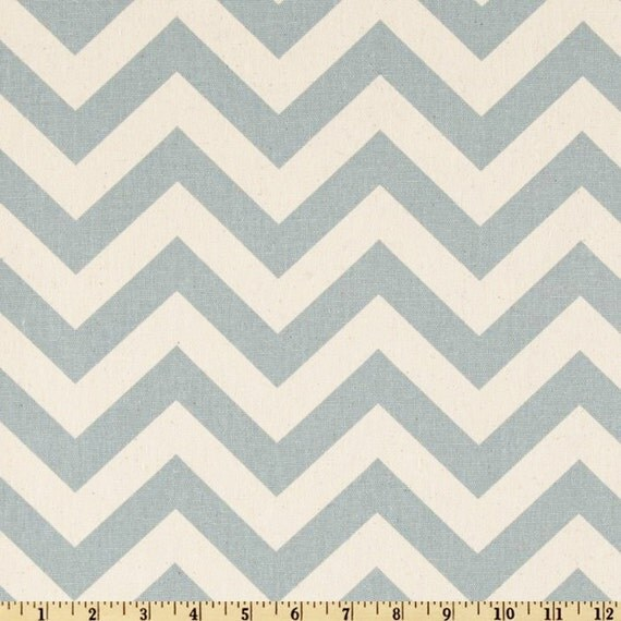 Blue Chevron Fabric Premier Prints zigzag blue natural village Home Decor - 1/2 yard or more - SHIPS FAST