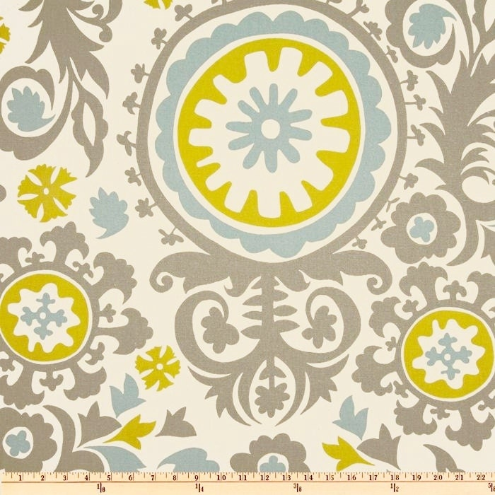 fabric suzani summerland premier prints grey blue green natural home decor fabric by the yard - Home Decor Fabric