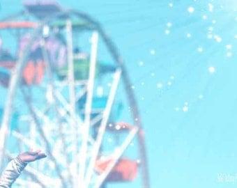 Beach Photography Ferris Wheel Carnival Photography Whimsical Art Nursery, Childrens Room, Wall Decor, 8 x 10 Fine Art Photography