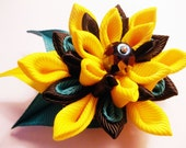 Kanzashi Fabric Flower Hair Pin/Brooch in Black Yellow and Teal Colors,Hair Accessories