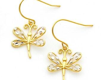 14Kt gold Two-tone Dragon Fly Fish Hook Earrings